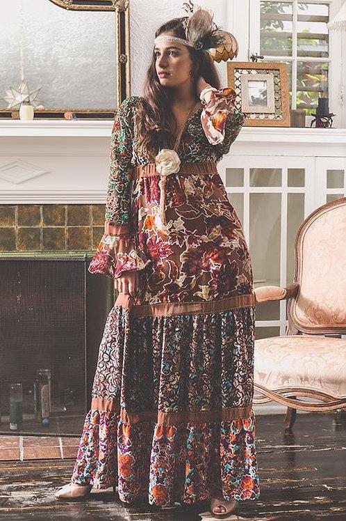 Multi Farah Velvet Mix Maxi Dress