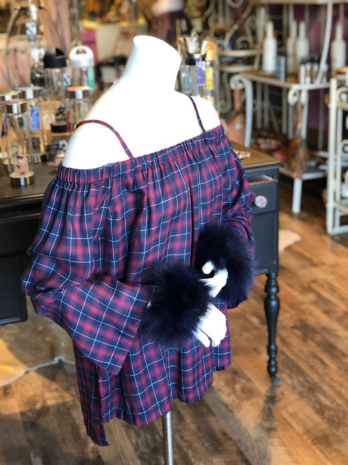 Red & Blue Plaid Cold Shoulder Top