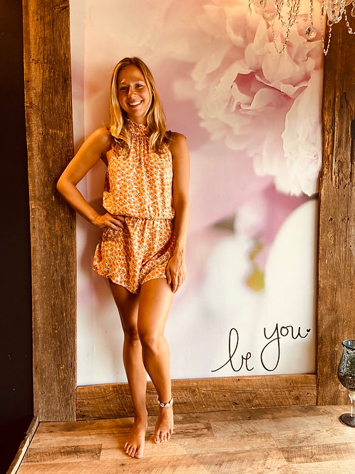 Orange Daisy Romper