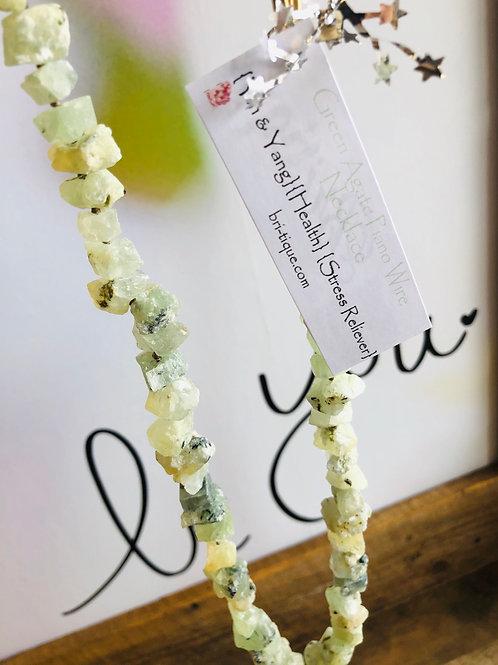 Green Agate Piano Wire Necklace