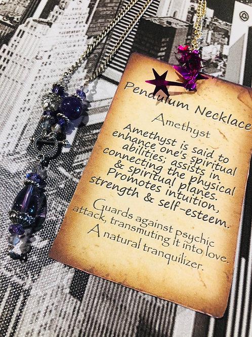 Amethyst Charm Pendulum Necklace