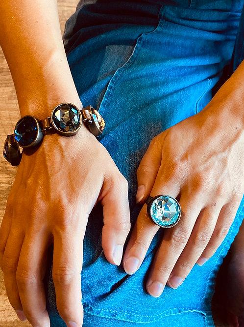 Aqua Crystal Swarovski Ring