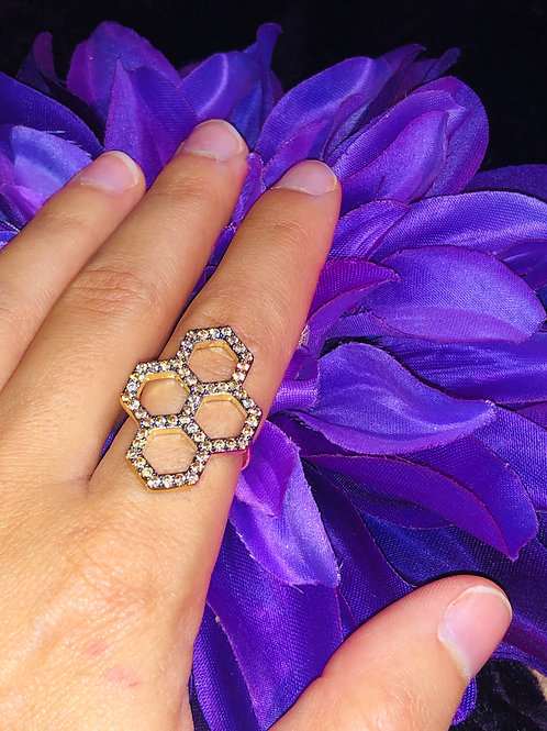 Champagne Honeycomb Ring