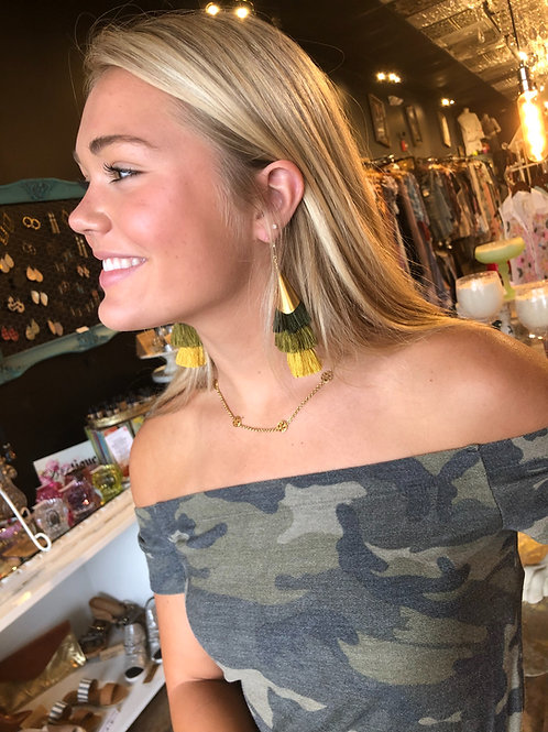 Chunky Tassel Earrings {Olive Ombré}