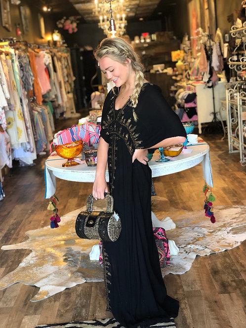 Black Boho Mandala V Neck Dress w/ Sequins