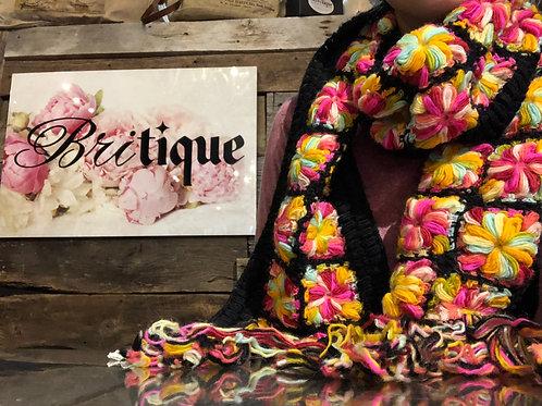 Black Flower Crochet Scarf