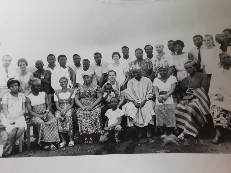 It is 1963. At Gordon Garrison's going away celebration by school colleagues and a few other volunteers in the Eastern Region. It took Jim all day from his station to mine. It is at Fatima High School in Afor Ugwu Agu Obua near Enugu looking towards the road north toward The University of Nigeria Nsukka