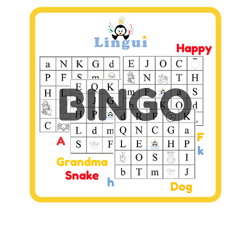 Letters and vocabulary BINGO