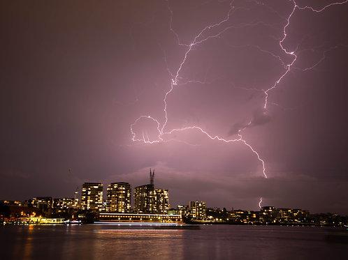 Lighting strike over Brisbane