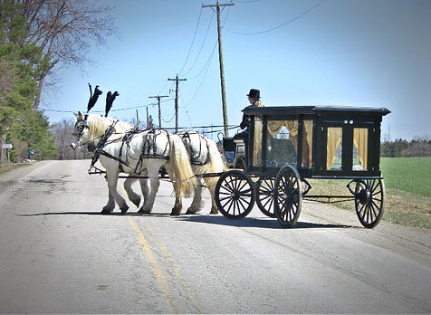 Offering horse drawn hears for funerals