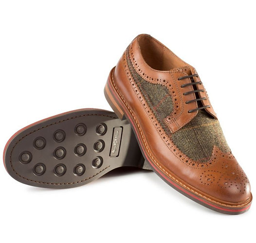 Alan Paine Men's Leather/Tweed Brogue