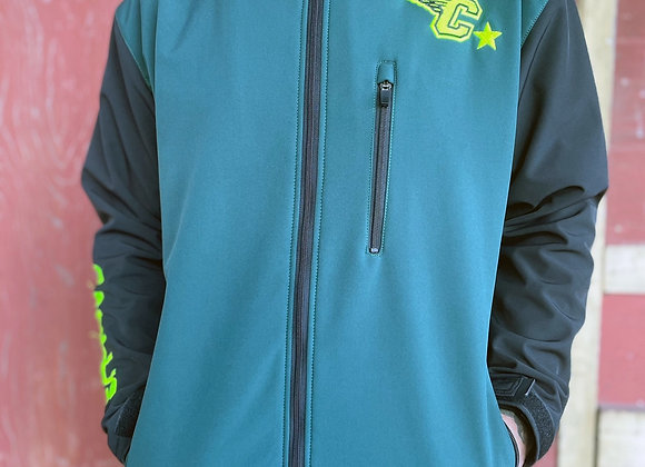 British green soft shell embroidered jacket