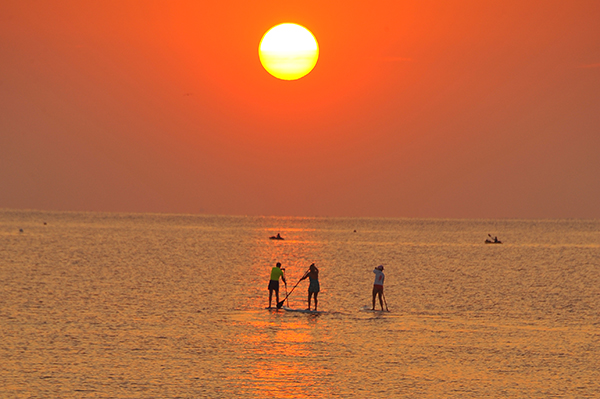 Paddleboards at sunrise