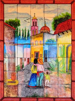 Mexican village mural