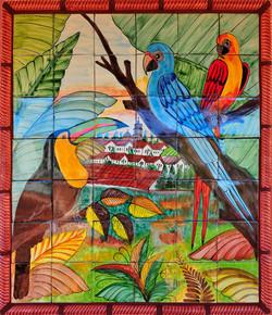 Outdoor art gallery parrot mural