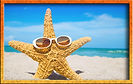 sand star with sunglasses