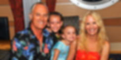Blue Seas courtyard owners and family
