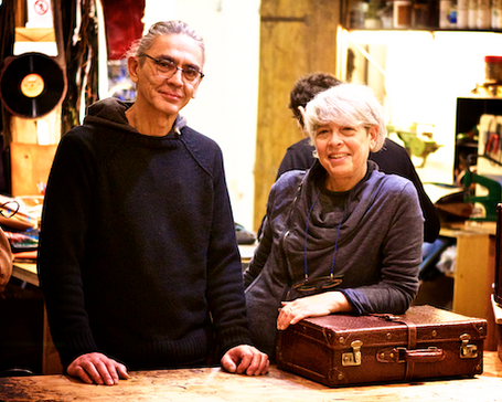 Paolo and Maria wellcome you to the workshop area of their shop. Need to customize your bag?