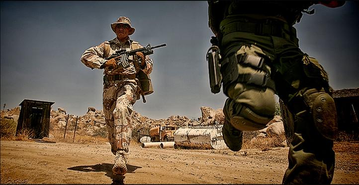 Swat team running