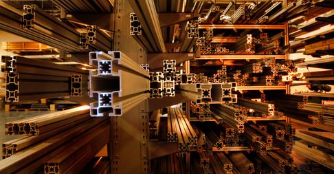 Stacks of aluminum metal await manufacture USA