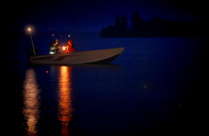 Nightime fishing with lamps in Minnesota