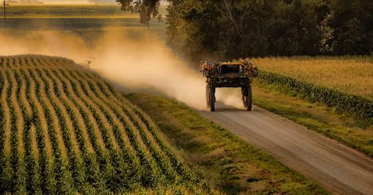 Sprayer heads to the corn fields