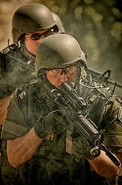 Police Swat Team Lines Up