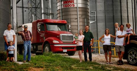 Corn growing farm family