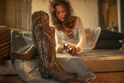 Cowgirl boots and model for Tailored West