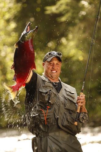 Alaska salmon stream fishing