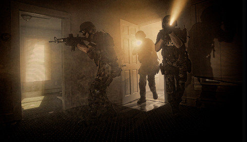 Police Swat Team Enters Dark Room