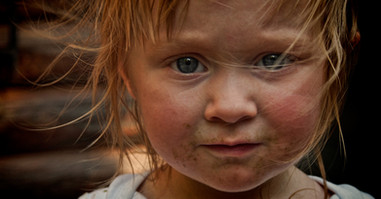 Dirty face little girl portrait