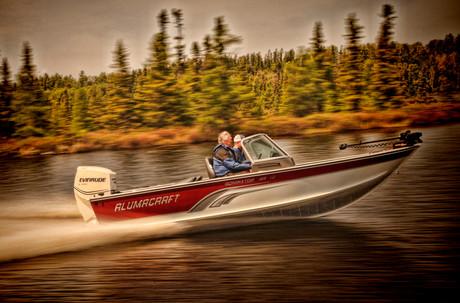 Fishing boat on Minnesota USA lake