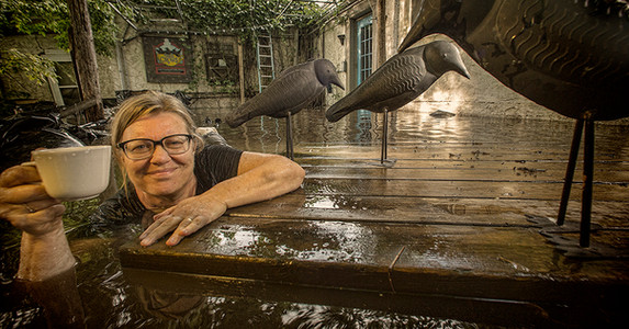 Gina Coburn Owner of The Three Crows Coffee Shop is Flooded