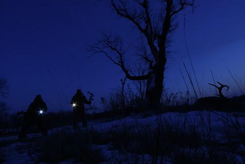 Hunters tracking whitetail deer