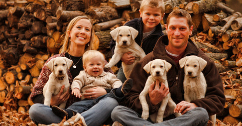 Kids, Puppies, Mom & Dad Family Portrait
