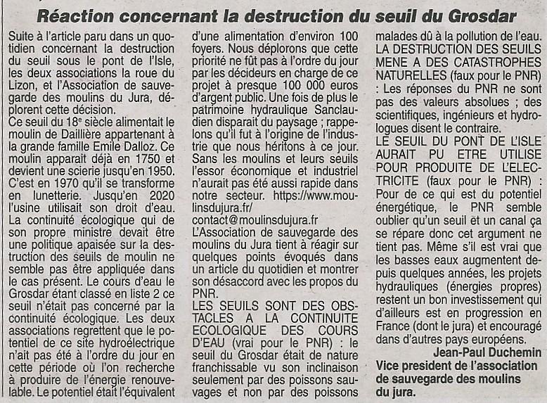 REACTION DE L'ASSOCIATION CONCERNANT LA DESTRUCTION DU SEUIL DU GROSDAR