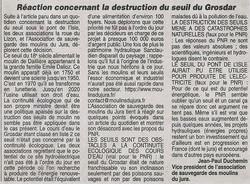 REACTION DE NOTRE ASSOCIATION CONCERNANT LA DESTRUCTION DU SEUIL DU GROSDAR