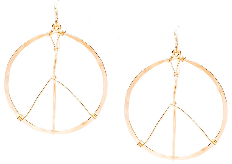 MP Hammered Peace Sign Earrings