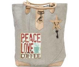 Peace, Love, Coffee Tote