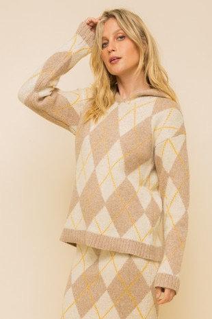 Neutral Argyle Sweater