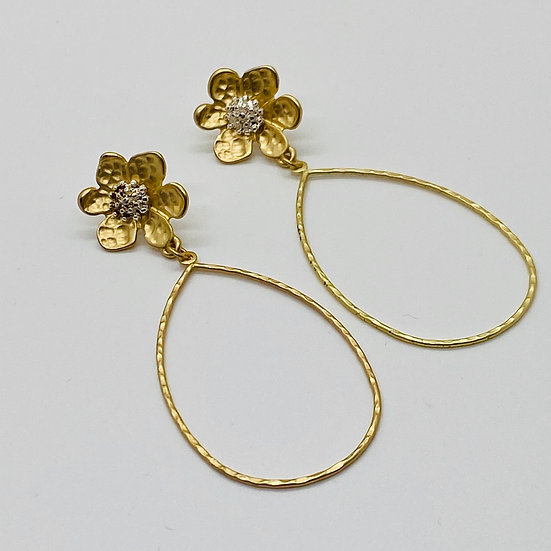 Floral Hoop Post Earring