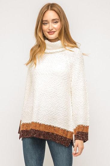 Cozy Color Block Popcorn Knit Sweater