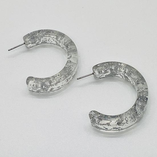 Lucite Hoop with Metallic Flecks