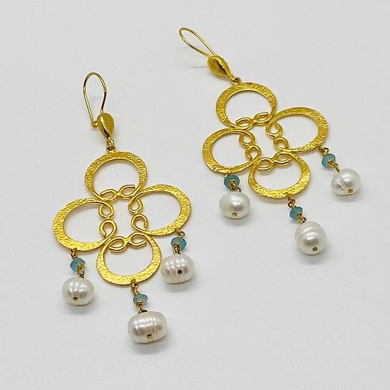 Bright Turkish Gold Pearl Triple Drop Earring
