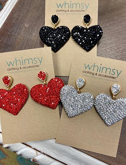 Sparkle & Heart Earrings