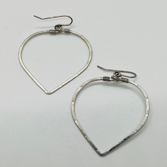 Hammered Silver Heart Earring