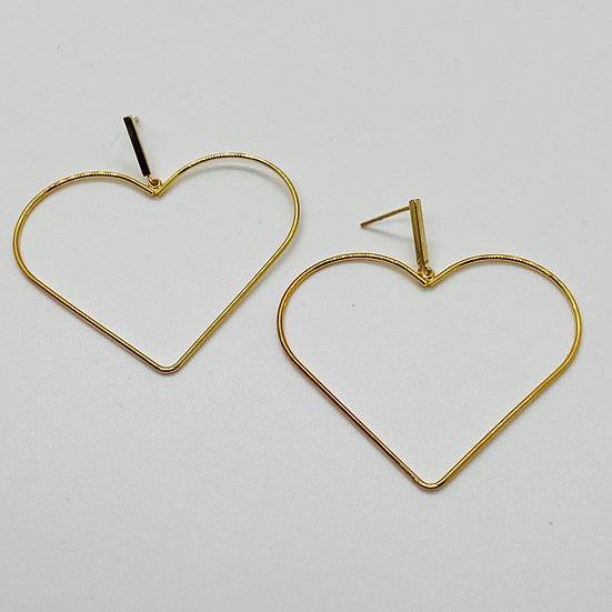 Gold Dipped Heart Post Earring