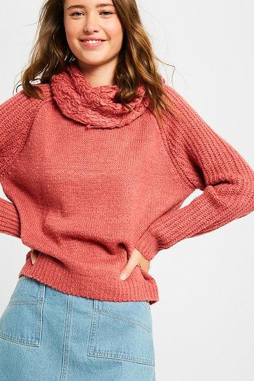 Sherpa Weave Cowlneck Sweater