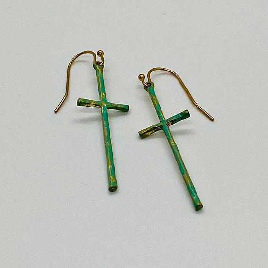 Delicate Patina Cross Earring